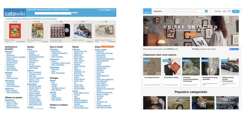 De homepage van Catawiki in 2008 en 2020