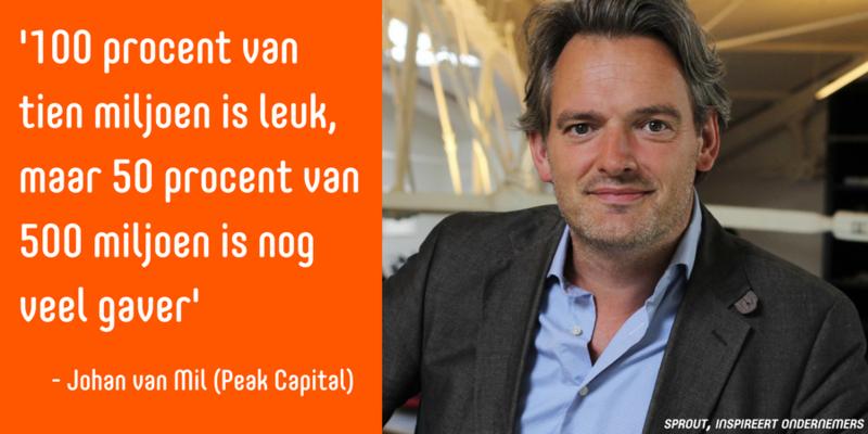 Quote van de dag: Johan van Mil. '100 procent van tien miljoen is leuk, maar 50 procent van 500 miljoen is nog veel gaver.'