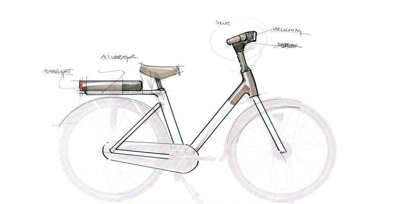 Een schets van de electrische QWIC fiets
