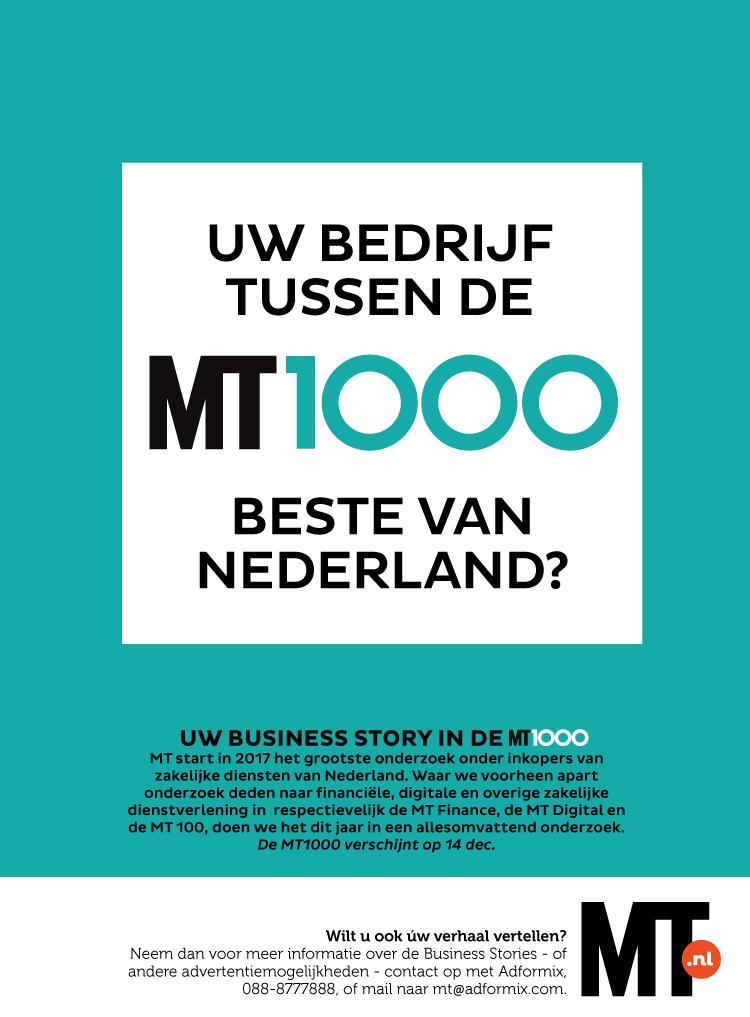 Het grootste onderzoek onder beslissers van zakelijke diensten van Nederland, waarin opgenomen MT Digital, MT Finance en MT 100. Vanaf nu in een allesomvattend onderzoek, MT1000