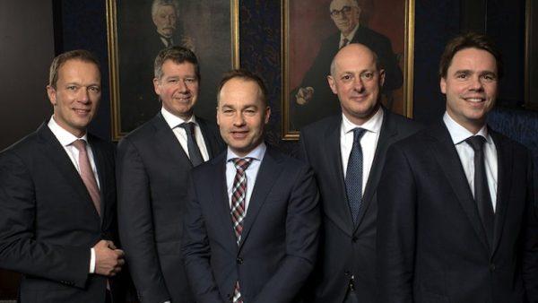 De neven Swinkels in het voorjaar van 2017. Van links naar rechts: Frank, Pieter, Stijn, Jan Renier en Peer Swinkels.