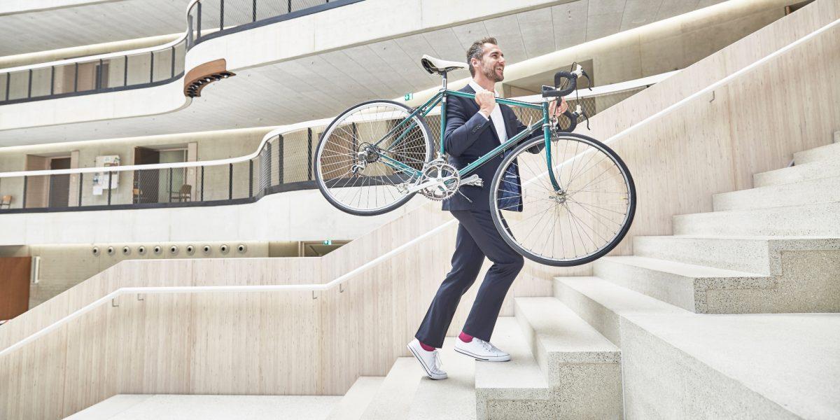 Met de fiets naar het werk
