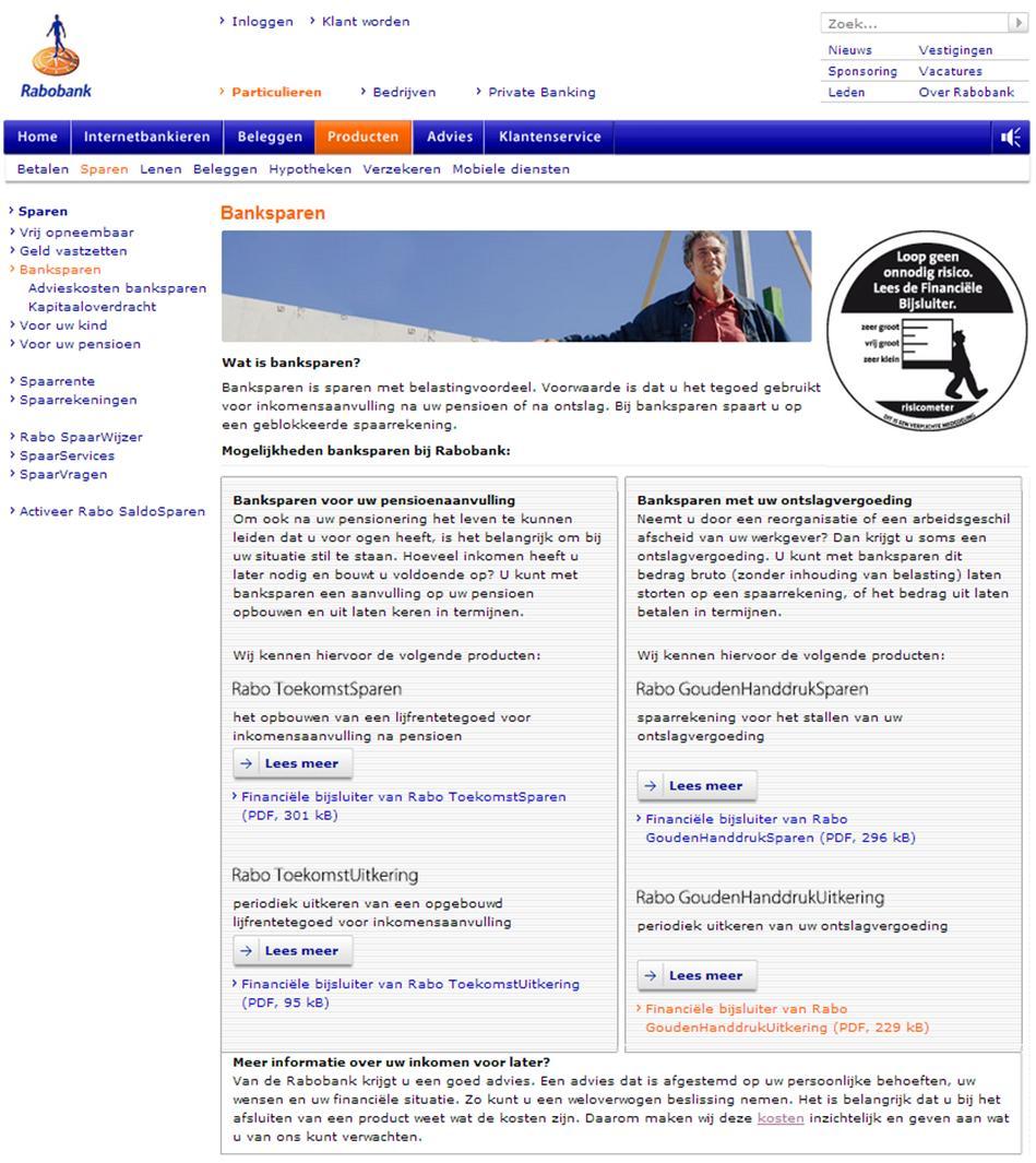 Screenshot van Rabobanks website