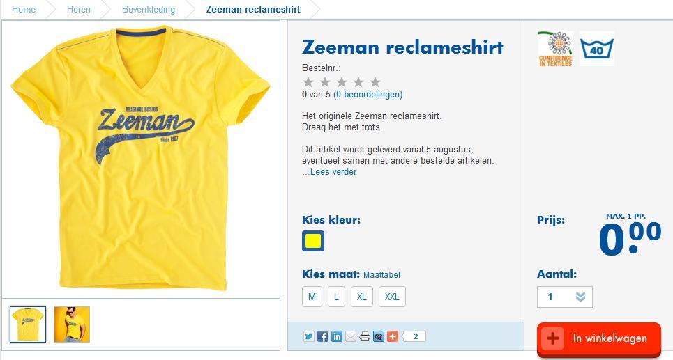Het t-shirt van Zeeman